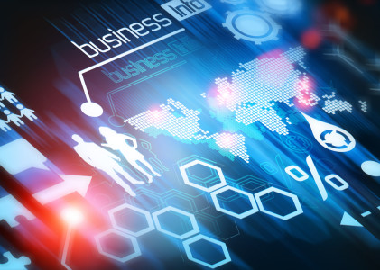 Business World Connected. Conceptual illustration design.